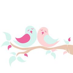 Lovebird on tree branch - pastel color