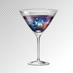 Realistic vector illustration of cocktail cosmopolitan glass with space background inside