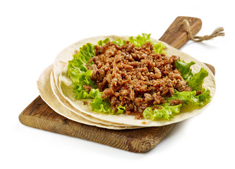 Tortilla wrap with fried minced meat