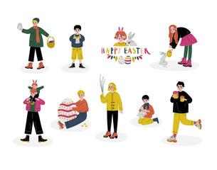 Happy Easter, Children Celebrating Holiday, Boys and Girls Holding Easter Symbols Set Vector Illustration