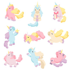 Collection of Lovely Unicorns, Cute Magic Fantasy Animals of Different Colors and Poses Vector Illustration