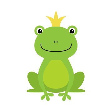illustration of isolated frog prince on white background