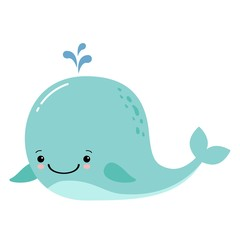 Cute amusing whale, prints image, vector illustration