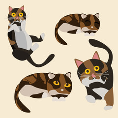 cats set vector illustration