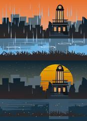 building in deferent times vector illustration