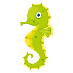 A cute seahorse isolated on white background
