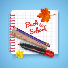 Notebook and school supplies on colorful bright background, stationery postcard back to school. Vector illustration