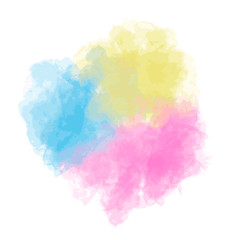 Spot of multi-colored paints, fluffy watercolor cloud. Vector
