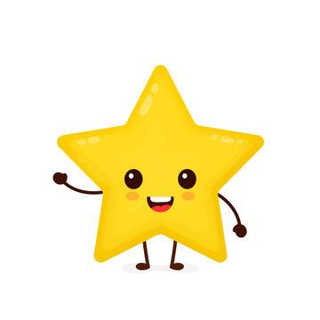 Happy cute smiling funny star. Vector