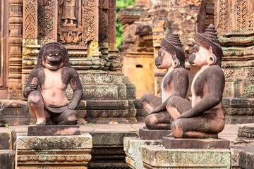 guardian sculptures in Banteay Srei temple, Siem Reap, Cambodia, Asia