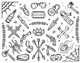 Old school tattoos set. Black icons: knifes, bones, bombs, pistols. Hand drawn dotwork isolated illustration. Eps10 vector