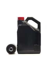 machine oil and oil filter isolated