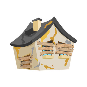 Abandoned house isolated. Old Home cartoon style vector
