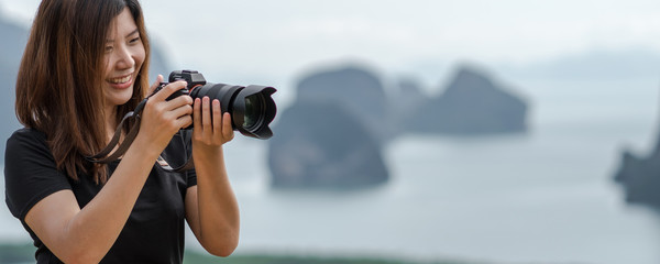 Banner of Portrait of photographer or the tourist over the Fantastic Landscape of samed nang chee view point at the sunrise time, Travel and holiday concept