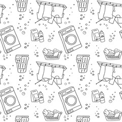 doodle pattern, laundry pattern, black and white seamless vector pattern hand-drawn elements for washing clothes (washing machine, clothes dry, laundry basket, laundry detergent)