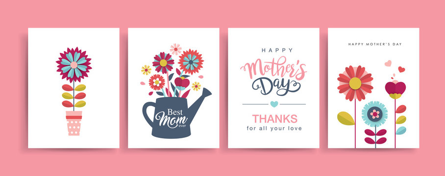 Set of Mother's Day greeting cards with paper cut flowers and typography