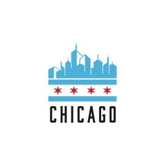 Chicago City Modern Skyline Vector Template logo design