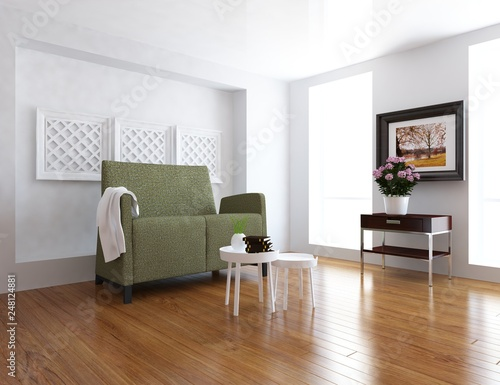 Idea Of A White Scandinavain Living Room Interior With Sofa Decor