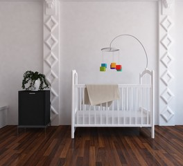 Idea of a white scandinavain nursery room interior with crib and dresser on the wooden floor and large wall and white landscape in window. Home nordic interior. 3D illustration
