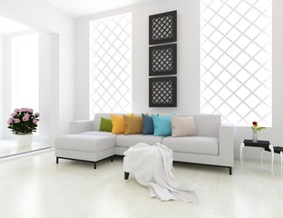 Idea of a white scandinavain living room interior with sofa, decor on thewooden floor and decor on the large wall and white landscape in window. Home nordic interior. 3D illustration