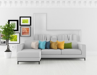 Idea of a white scandinavian room interior with furniture and large wall and white landscape in window. Home nordic interior. 3D illustration
