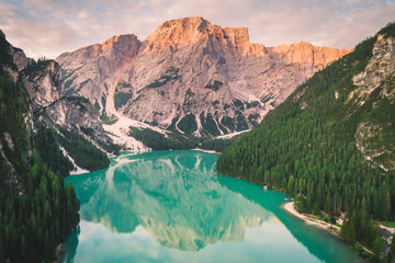 Wall Mural - Braies Lake, Fanes Sennes Braies Natural Park, Dolomites, South Tyrol, Italy