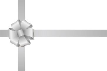 Crossed ribbons and flower loop hair bow / silver