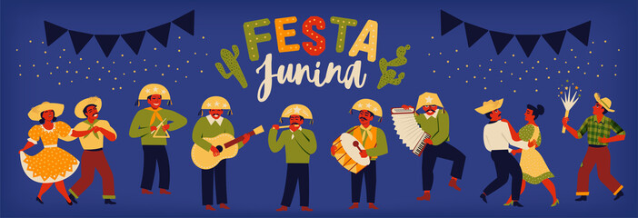 Brazilian Traditional Celebration Festa Junina. Portuguese Brazilian Text saying Fair. Festa de Sao Joao. Festive Typographic Vector Art.