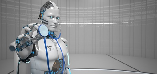 Fototapete - Humanoid Robot Stethoscope