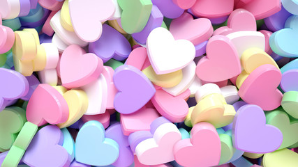 Colorful Heart Candies (Sweets). Background Concept - Valentine's Day - 3D Illustration