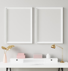 Mock up poster frame in interior background with decor on shelf, 3d render