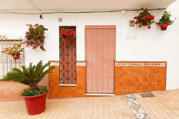 Colorfull Flowerpots with Flowers in Estepona Andalusia Spain