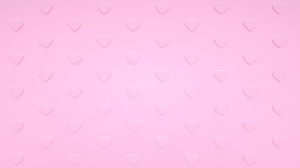 Pastel Pink Heart Background. Pattern, Texture - Valentine's Day - 3D Illustration