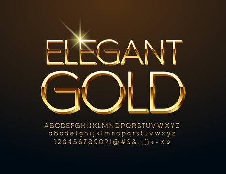 Vector Elegant Gold Alphabet Letters, Numbers and Symbols. Luxury 3D Font