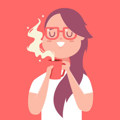 Cute girl with red cup of coffee or tea. Vector cartoon woman character isolated on background.