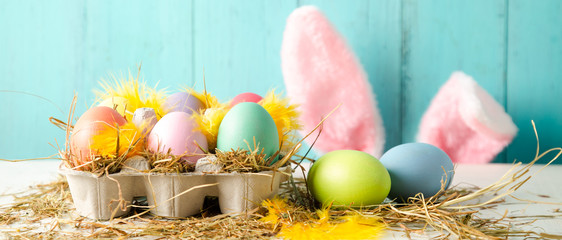 Easter holiday concept in pastel colors