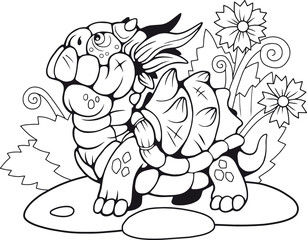 cute little cartoon turtle dragon, coloring book, funny illustration
