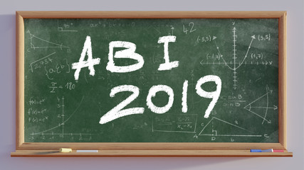 3D render of a blackboard with text Abi 2019