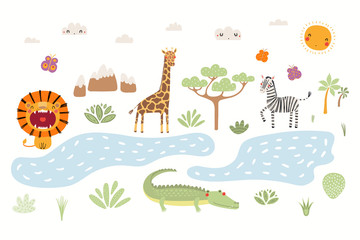 Foto auf Leinwand Abbildungen Hand drawn vector illustration of cute animals lion, zebra, crocodile, giraffe, African landscape. Isolated objects on white background. Scandinavian style flat design. Concept for children print.