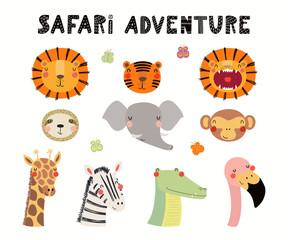 Hand drawn vector illustration of cute animals lion, flamingo, zebra, monkey, crocodile, giraffe, tiger, elephant, sloth. Isolated objects on white. Scandinavian style flat design. Concept kids print