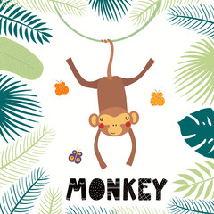 Hand drawn vector illustration of a cute monkey among tropical plants leaves, with text. Isolated objects on white background. Scandinavian style flat design. Concept for children print.