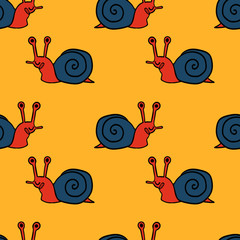 Cartoon doodle linear snail seamless pattern. Animal background. Vector illustration.