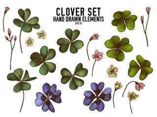 Vector collection of hand drawn colored  clover