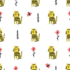Fototapete - Seamless pattern with doodle tigers