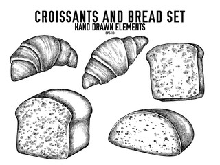 Vector collection of hand drawn black and white croissants and bread