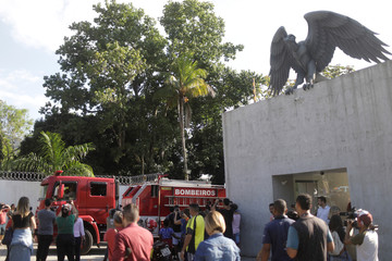 Fire truck is seen at Flamengo training centre after deadly fire in Rio de Janeiro