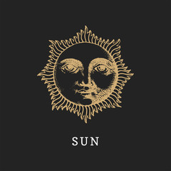 The Sun, hand drawn in engraving style. Vector graphic retro illustration.
