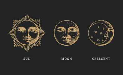 Set of Sun, Moon and crescent, hand drawn in engraving style. Vector graphic retro illustrations.