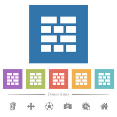 Brick wall flat white icons in square backgrounds