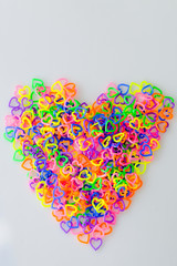 Colorful mini  heart toy plastic shape herat  for background and texture